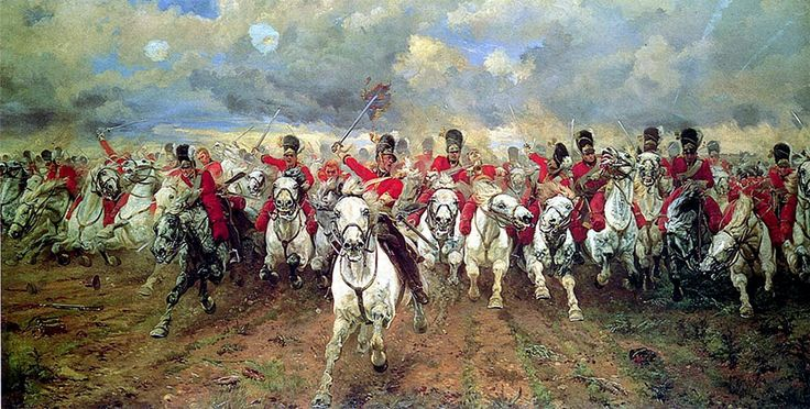 It was on this morning, in 1815, that the Royal Scots Greys made their famous charge at the Battle of Waterloo, immortalised forever by Lady Elizabeth Butler in her famous painting. Description from aforceforgood.org.uk. I searched for this on bing.com/images