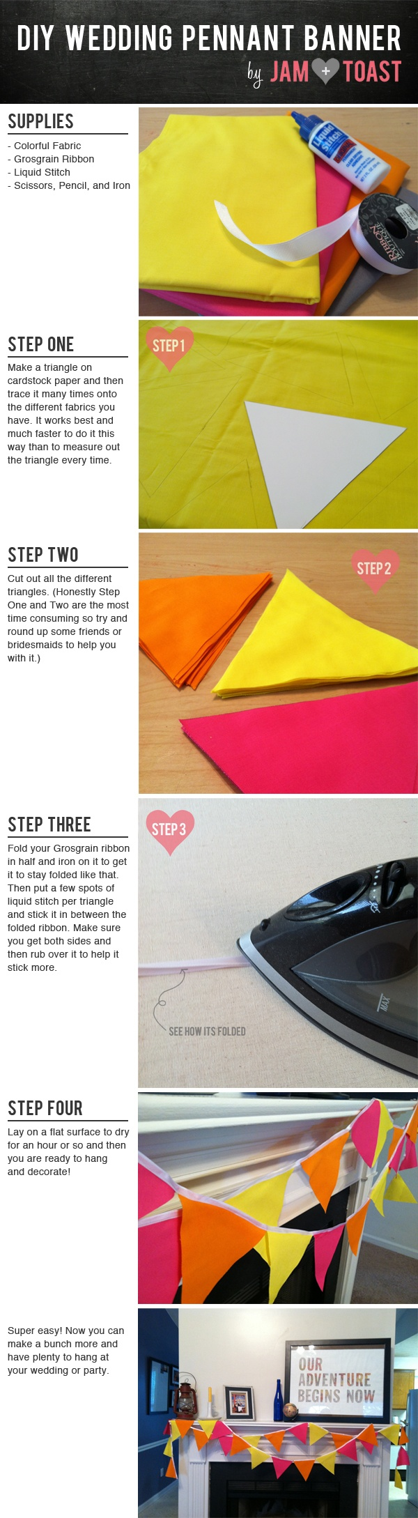 Easy DIY No-Sew Wedding Pennant Banner over colorful tablecloth? Plastic?