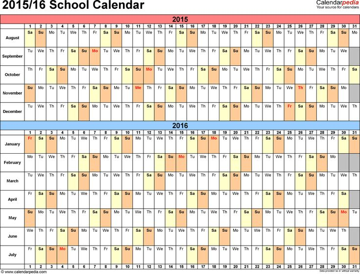 Image for School calendars 2015/2016 as free printable Word templates