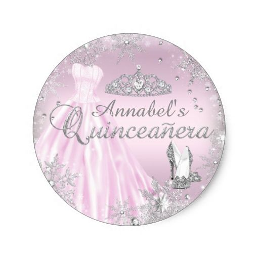 Pink Sparkle Dress Tiara Quinceanera Sticker