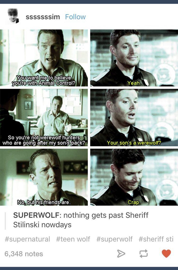 Superwolf; Supernatural; Teen Wolf; crossover; Dean Winchester; Sheriff Stilinski