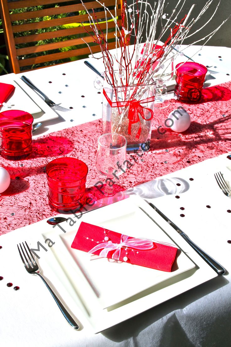 105 best d co de table rouge et blanc images on pinterest ForTable Noel Rouge Et Blanc
