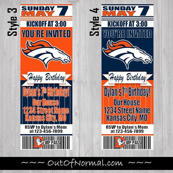 Denver Broncos Themed Birthday Invitation Tickets  Football