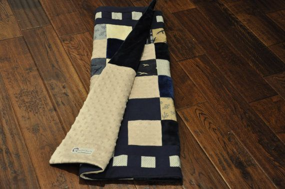 Adorable, modern navy and cream baby quilt. Perfect for navy baby nursery!