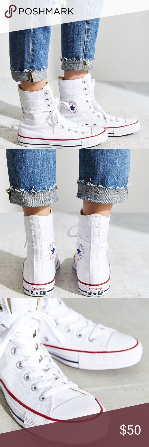 White Chuck Taylor All Star High Rise Sneakers Versatile, classic Converse All Star sneakers deserve a spot in every closet, pairing perfectly with jeans or giving a suit some edge. Signature cap toe; lace up. Worn Once.                            ⚡️Fast Shipper⚡️ 💰20% Off 2+ Items💰 🍀Make An Offer🍀.                                          💥PLUS: 📦FREE SHIPPING📦 On Fridays Only on $50+ Item(s) [Bundle] or on any $100+ Orders any day. 🛍 Converse Shoes Sneakers