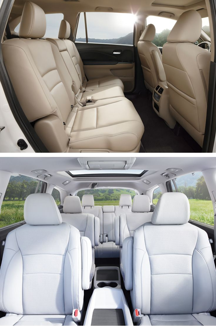 The new 2016 Honda Pilot features three rows of seating with a fold-down rear-seat armrest, perfect for maintaining the peace by dividing brothers and sisters…at least for a little while.   Touring and Elite trims shown.