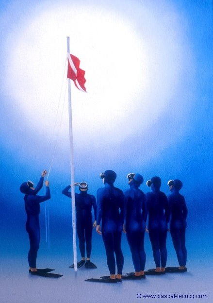 """Olympic Games 2012 July 27th: Opening Ceremony    pic: """"COLOURS HOISTED""""- Diver Salute - oil on canvasby Pascal Lecocq, The Painter of Blue ®,33 x 24cm 13""""x 91/2"""", 1999, lec522, private collection Courbevoie, France. Postcard available ©www.pascal-lecocq.com."""