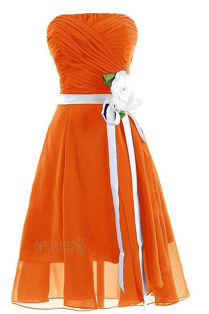 Orange Chiffon Knee Length Bridesmaid Dress With Flower Belt Am61