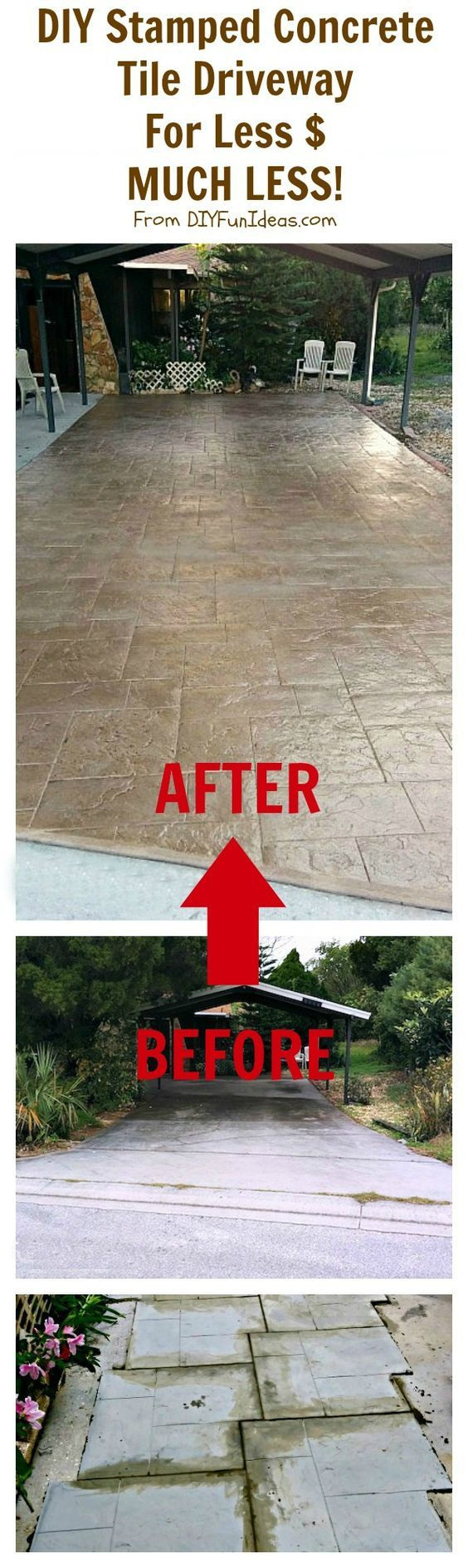 DIY STAMPED CONCRETE TILE DRIVEWAY FOR LESS $...MUCH LESS!!!  Great for patios & decks too! Even a novice can do this.: