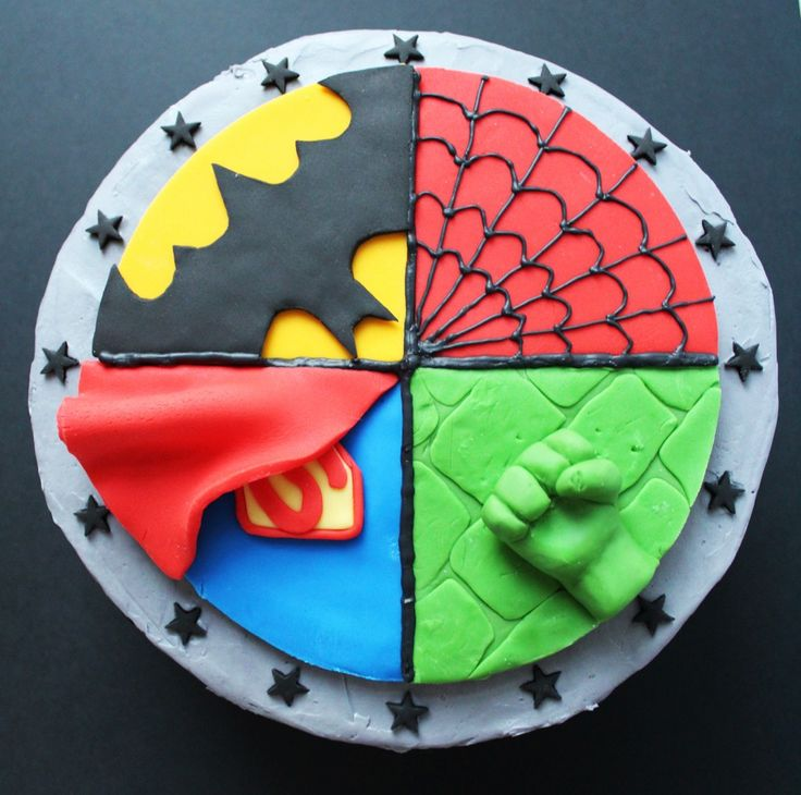 SUPERHERO CAKE - Spider-Man, Superman, Batman, Hulk