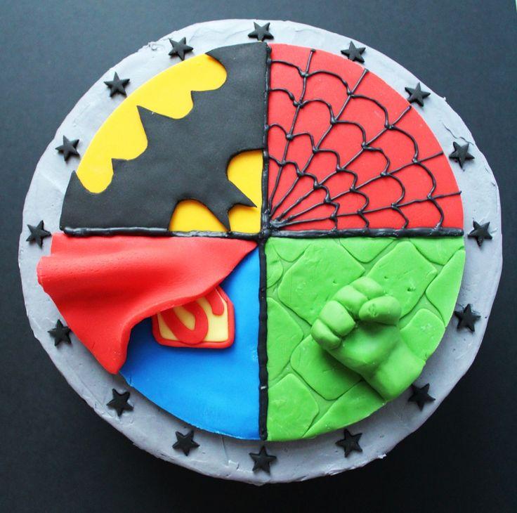 SUPERHERO CAKE - Spider-Man, Superman, Batman, Hulk