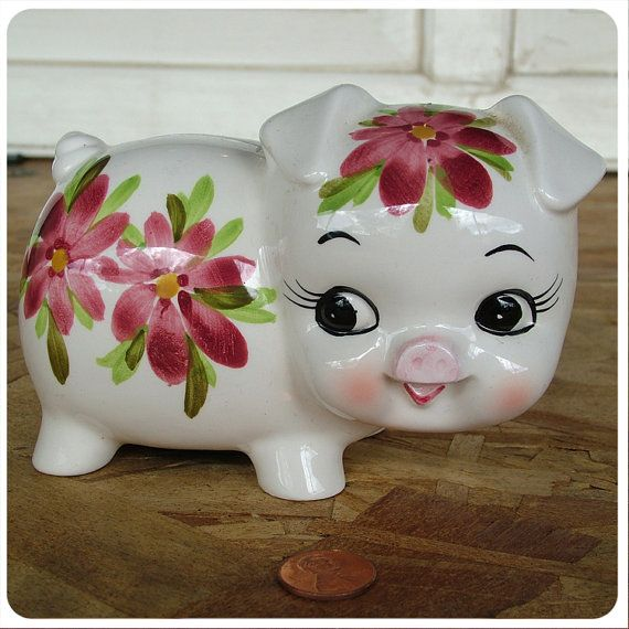 Vintage Pretty Pig Piggy Bank with Handpainted flowers