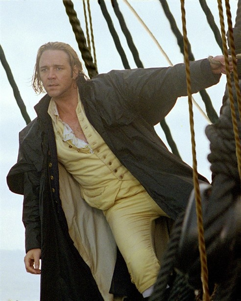 Russell in Master and Commander. Russell likes being this Ship- type character. Look at the opening scene in Les Miserables.