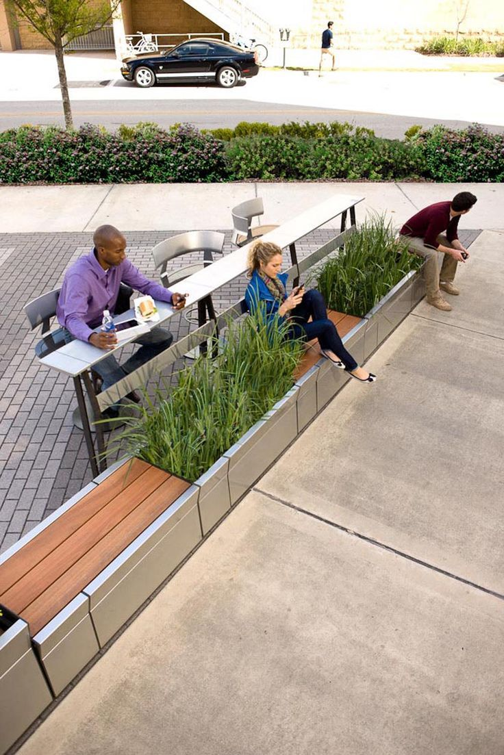 landscape furniture, urban edge, plaza, planter, bench, seating