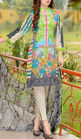 Buy Multicolor Embroidered Cotton Lawn Dress by Combinations 2016