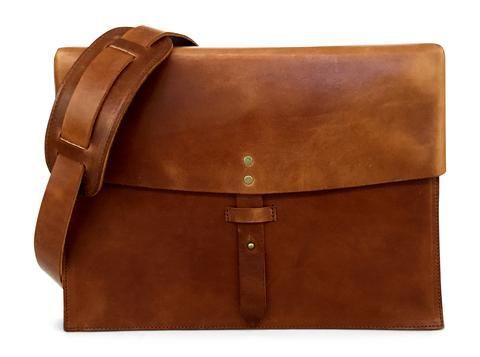 vintage full grain leather messenger bag in saddle tan