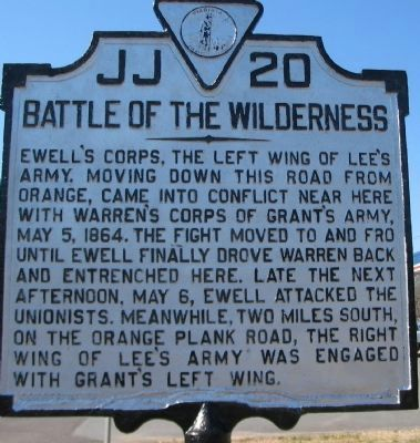 Battle of the Wilderness Marker. Click for full size.