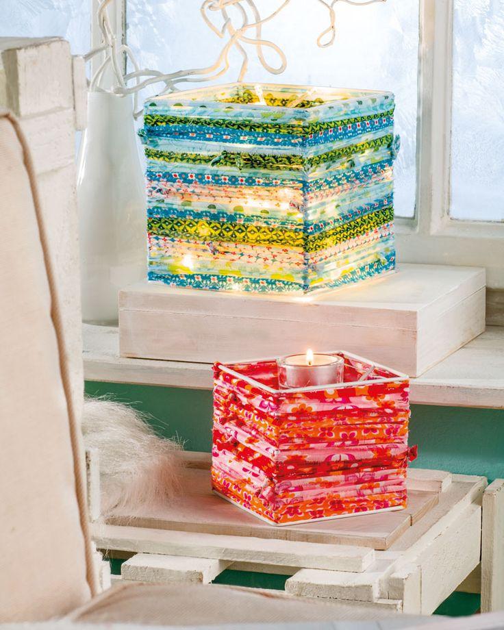 """Lampe mit Patchworkstoff (Idee mit Anleitung – Klick auf """"Besuchen""""!) - Gestalten Sie Ihre eigene Patchwork-Lampe! Sie können die verschiedensten Farben und Musterungen ganz nach Ihrem Geschmack mixen und kombinieren. So entsteht ein ganz besonderes Einzelstück!"""