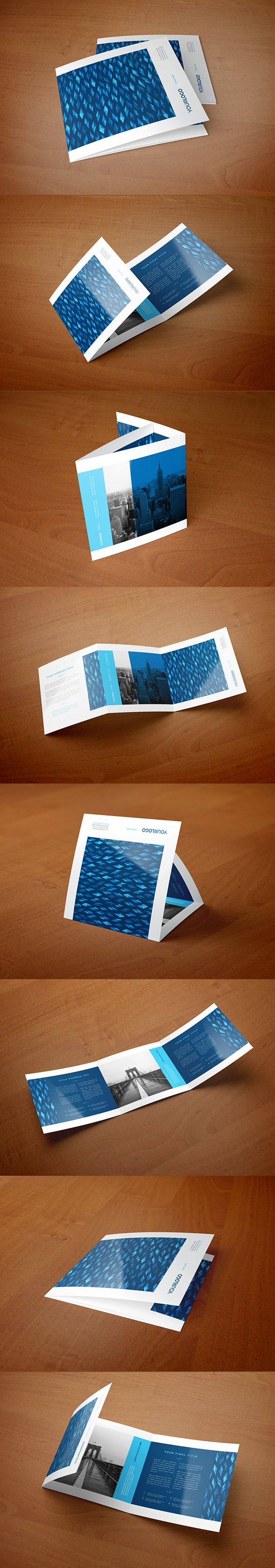 Square Blue Modern Diamonds Trifold