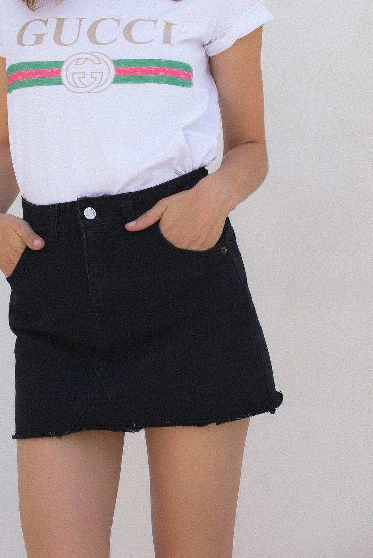 Best 20  Black denim skirt ideas on Pinterest | Black denim, Denim ...