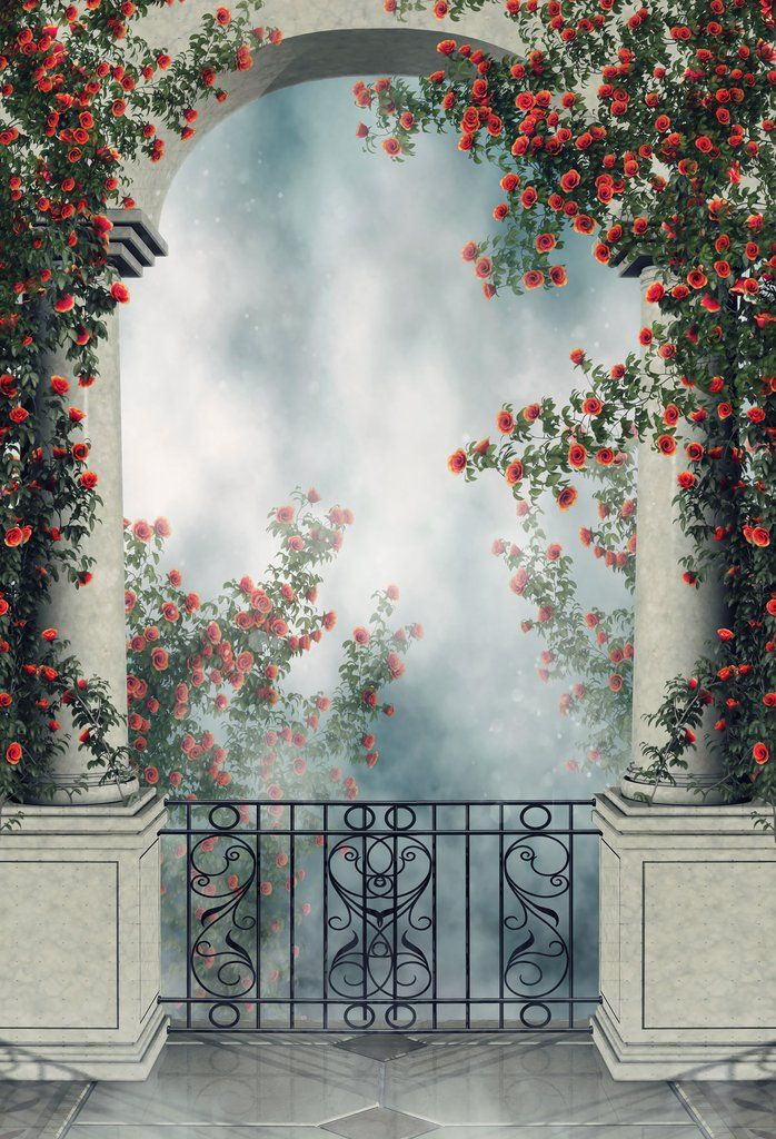 Consumer Electronics Mysterious Forest Backdrop Arch Door Iron Gate Printed White Flowers Newborn Baby Shower Props Kids Halloween Photo Backgrounds