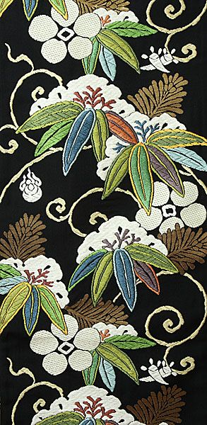 Textiles. 西陣都袋帯笹に天神文