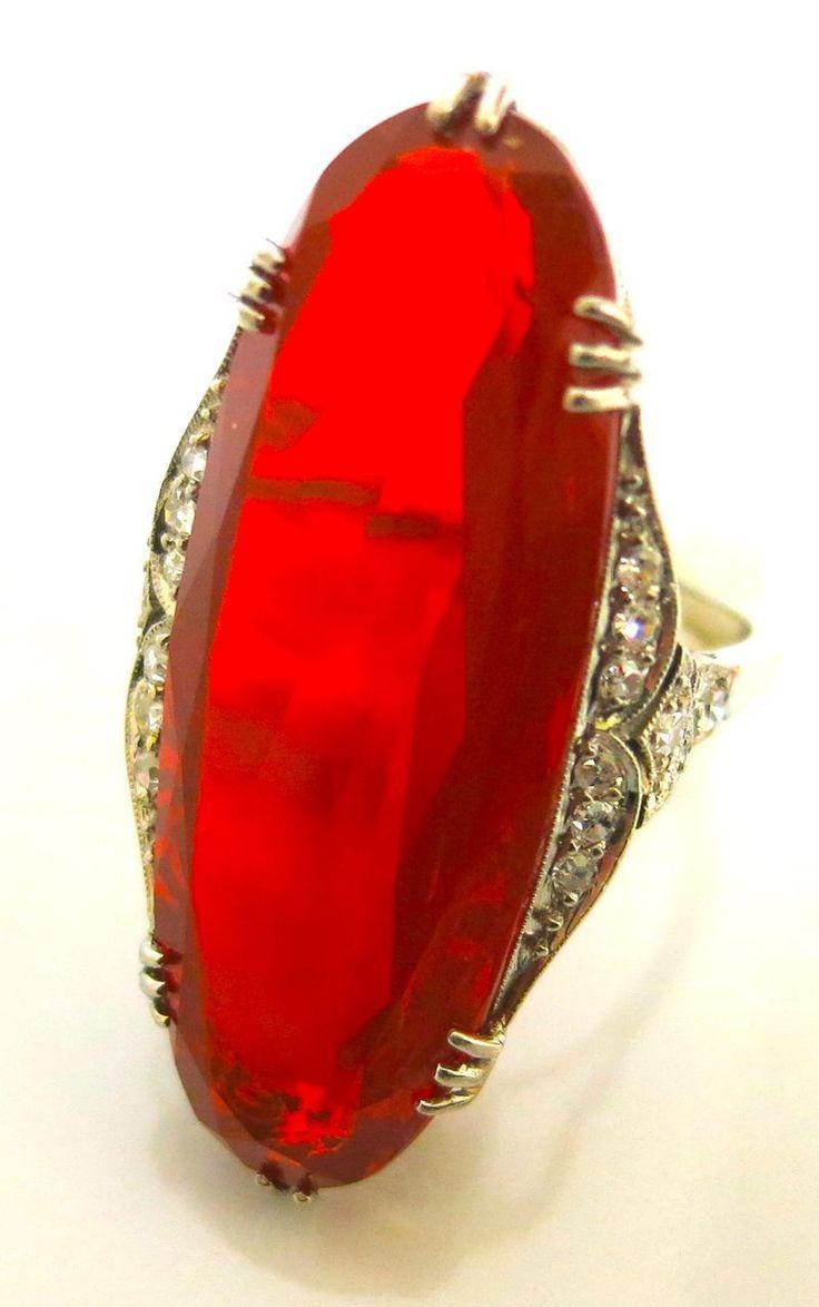 Art Deco unusual fire opal ring--Opal and Diamonds in Platinum #ArtDecoOpalRing #FireOpals #VonGiesbrechtJewels