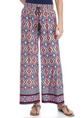 New Directions Navy  Pink Petite Border Print Tie Front Wide Leg Pant