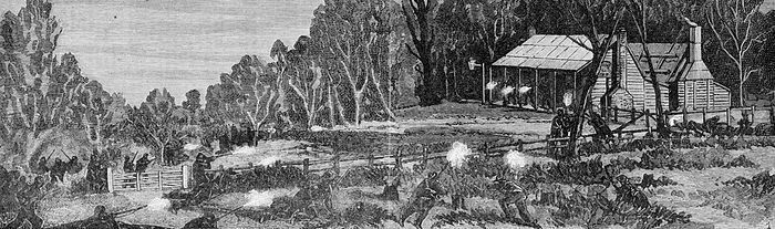 Police who participated in the Siege of Glenrowan. Note the presence of five aboriginal (dark-skinned) officers who were part of a special tracking unit.