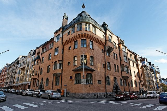 Katajanokka quarter, Helsinki. Functionalism: typical Finnish architectural style, essential while massive, from the beginning of the 1900.  FULL SCREEN