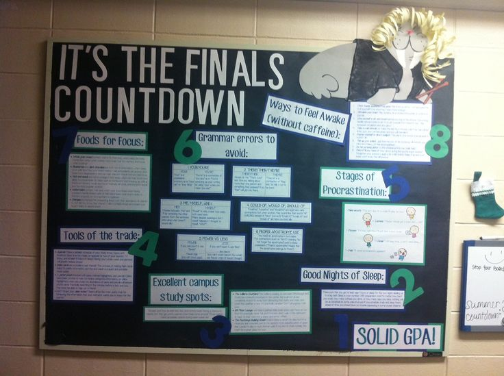 finals countdown bulletin board