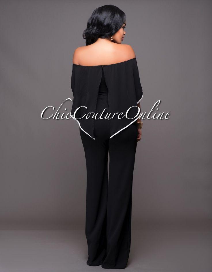 Chic Couture Online - Jacqueline Black Off-White Trim Cape Jumpsuit. (http://www.chiccoutureonline.com/jacqueline-black-off-white-trim-cape-jumpsuit/)