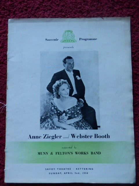 THEATRE PROGRAMME - ANNE ZIEGLER AND WEBSTER BOOTH 1950