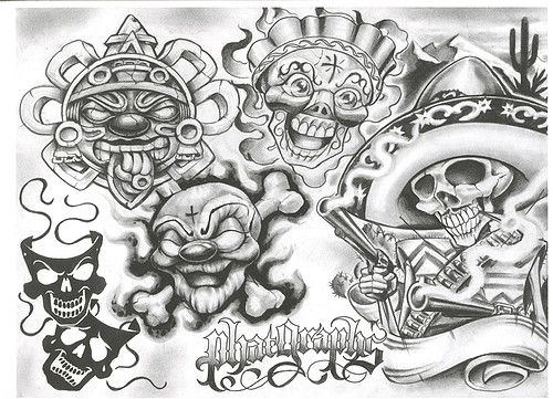 Chicano tattoo Designs | Tattoovoorbeeld | Gangster Tats ...