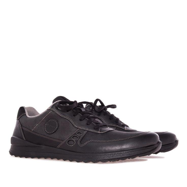 Zapato de estilo deportivo en Piel Negro. Pespuntes de hilo gris. Cierre de…