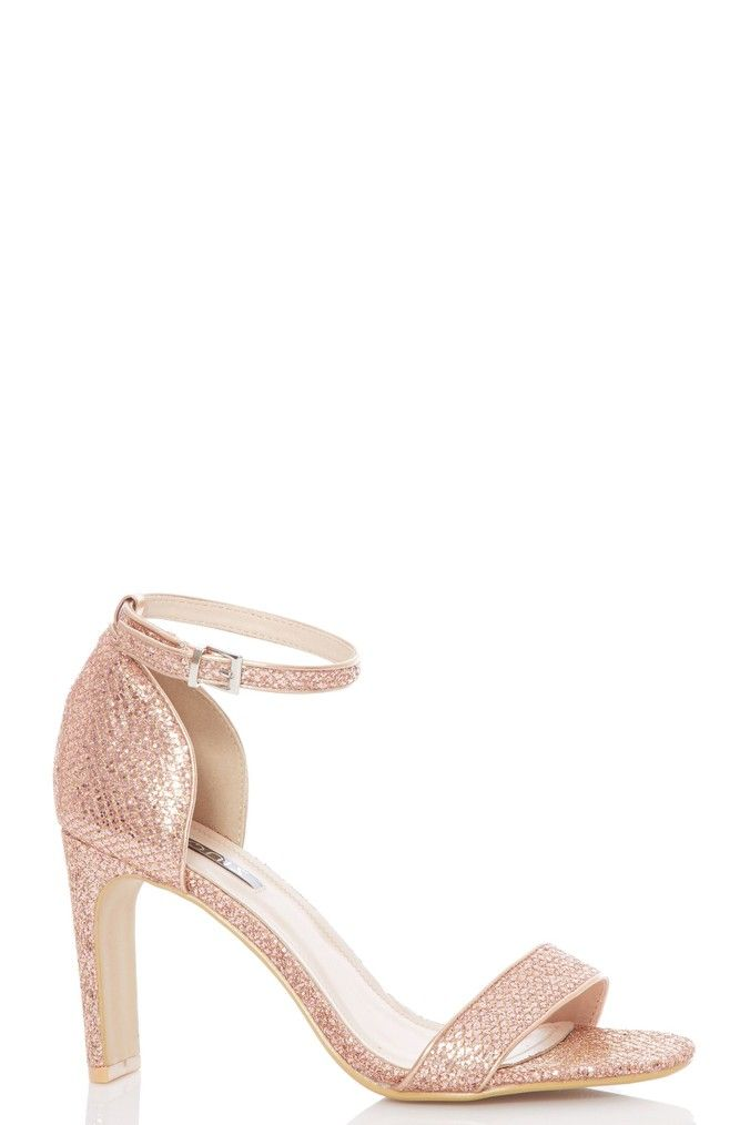Womens Quiz Glitter Skinny Block Heel Sandals Gold Block Heels Sandal Sandals Heels Heels