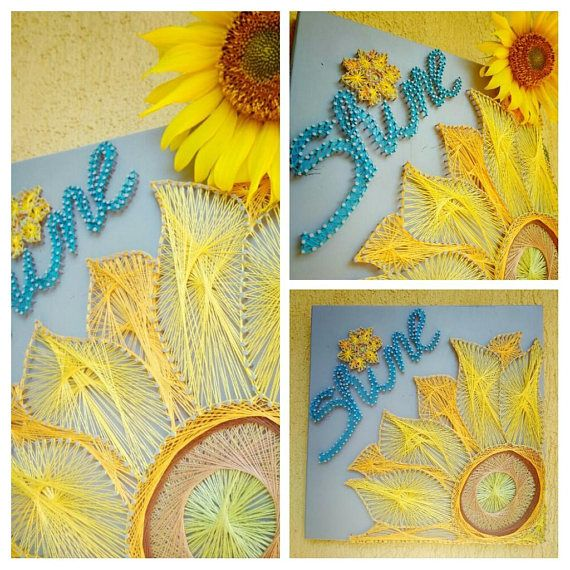 string art flower on wood,sun flower, home decor gifts, Birthday gift, handmade wall decor, personalized gifts for her/him, wood string art