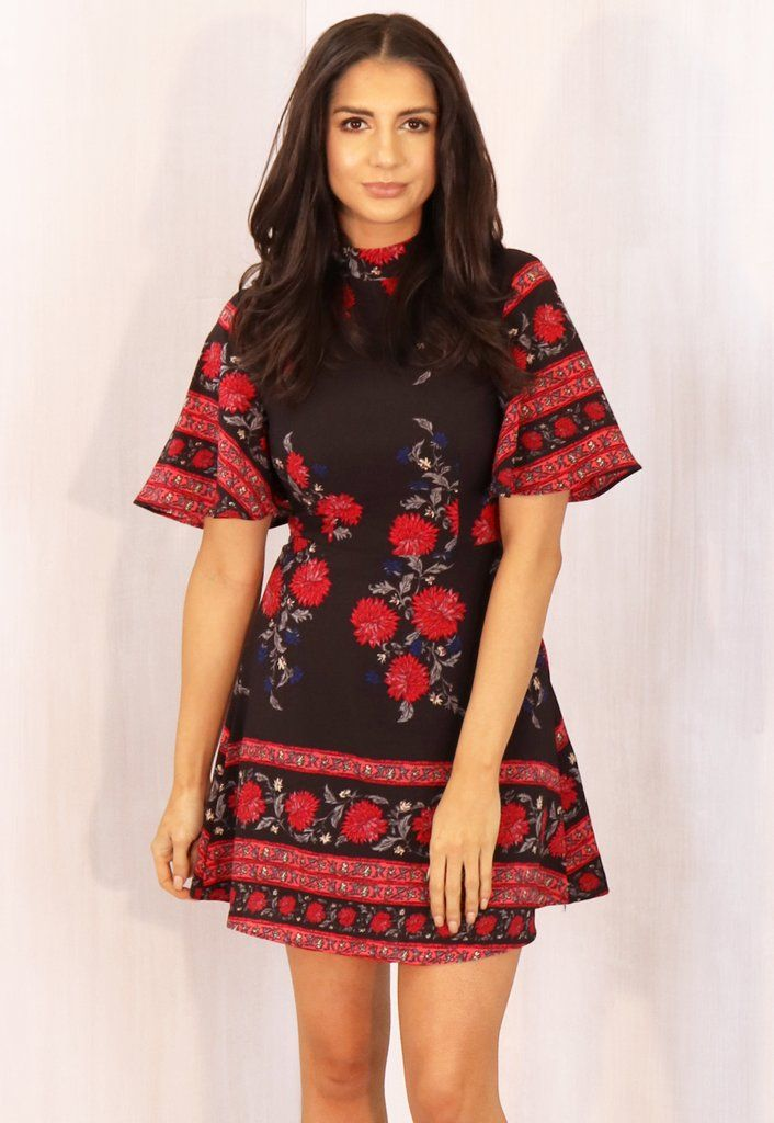 High Neck Fit & Flare Floral & Border Print Mini Dress in Black & Red