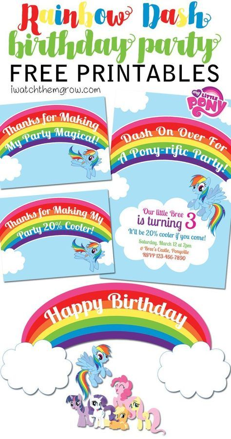 FREE My Little Pony Rainbow Dash birthday party printables! Invitation, thank you cards/ favor tags and cake toppers or party signs!