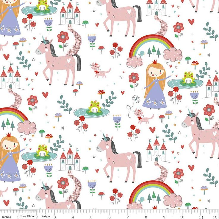Riley Blake brings you pretty princesses and magical unicorns. Collection available in pink, purple and coral.