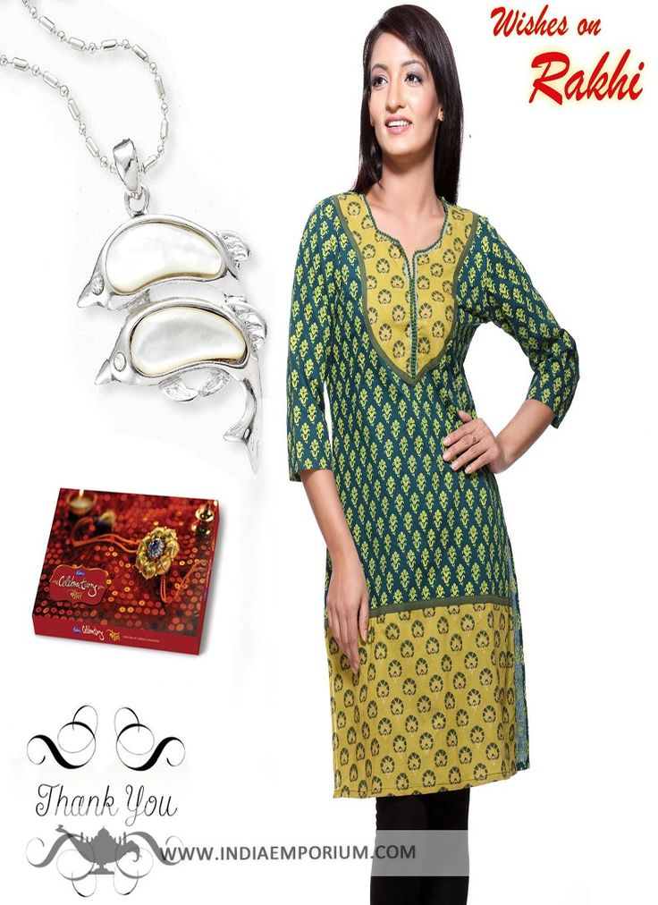 Green Kurti & Dolphin Style Pendant Hamper For #Sister  #Rakhi  #Rakhioffers