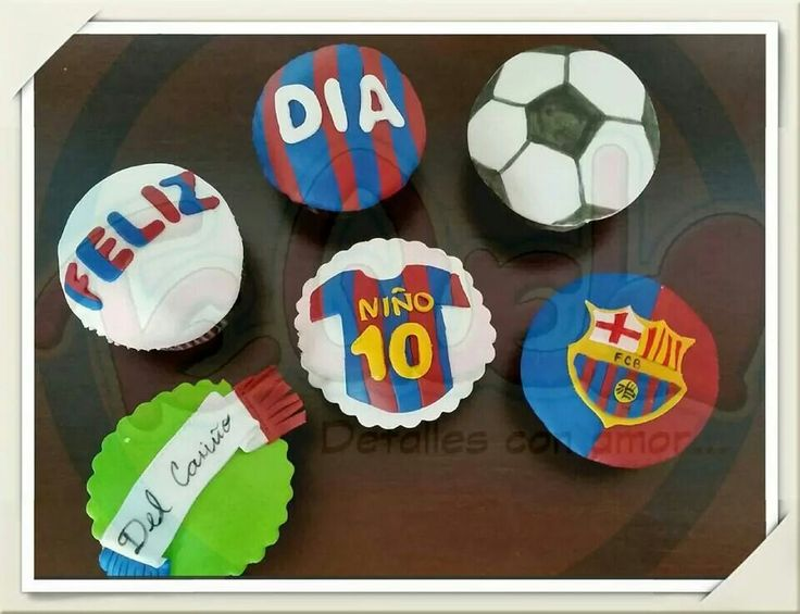 Hoy les compartimos unos lindos Cupcakes del Barça. #cupcakes #barcelona #futbol