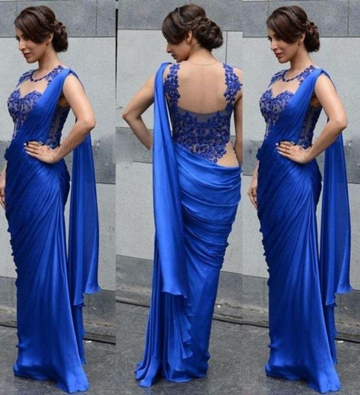 Prepare the 2015 prom dresses for the upcoming prom? Then you need to see  2016 hot sale evening dresses mermaid indian saree lace royal blue chffon prom dresses sheer sleeveless satin charming formal party gowns dz in myerdresses and other prom dresse s and prom dresses prom on DHgate.com.