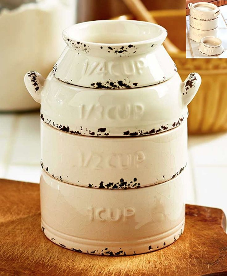 Rustic #farmhouse Kitchen Milk Can Measuring Cups Stackable Set #kitchenideas