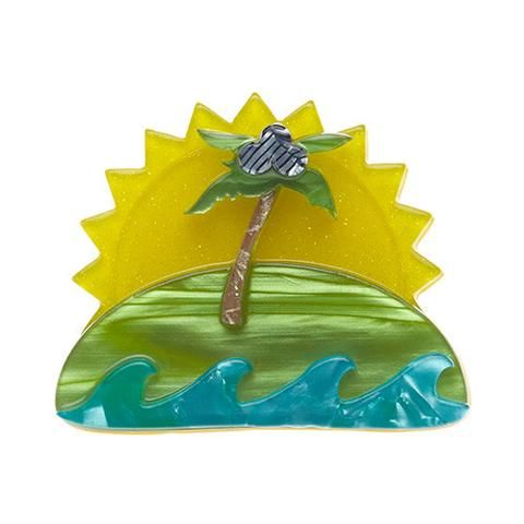 "Erstwilder Limited Edition Island in the Sun Brooch. ""No man is an island. No woman either for that matter. Still, a little alone time in the tropics isn't without some appeal."""