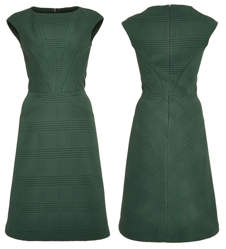 Zac Posen Prince Of Wales Bonded Crepe A-Line Dress