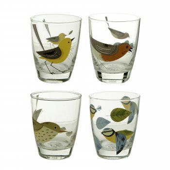 Magpie Birdy Glass Tumbler Set of 4 : Blue Tit, Robin, Thrush & Wagtail Drinking Glasses