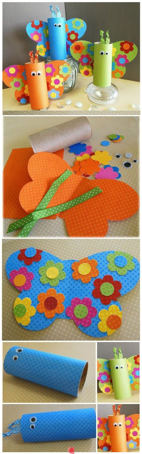 Butterfly toilet paper roll craft for kids #DIY