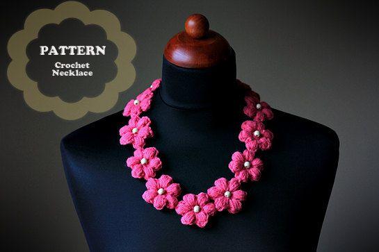 Crochet Pattern - Crochet Flower Necklace