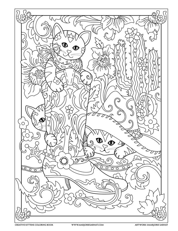 Cowboy Boot Creative Kittens Coloring Book By Marjorie Sarnat